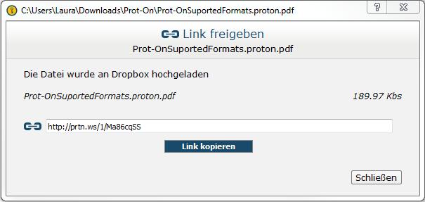 Dropbox Link freigeben