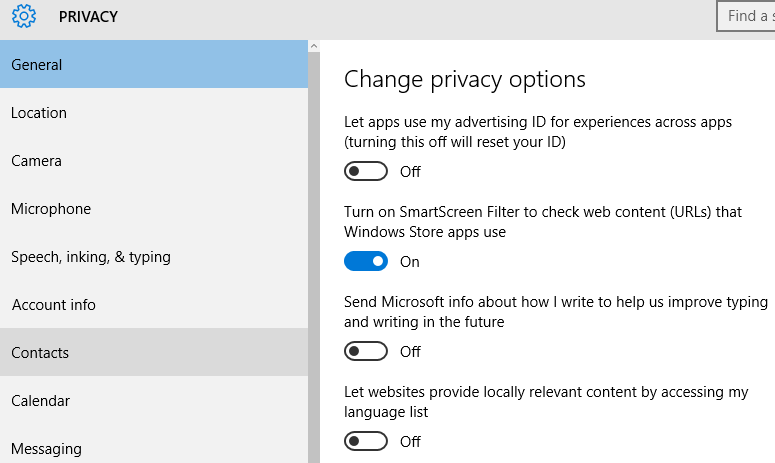 Privacy settings windows 10