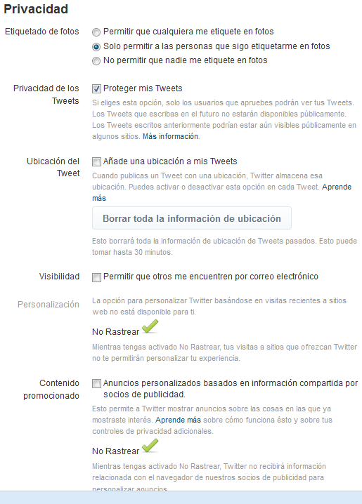 privacidad twitter